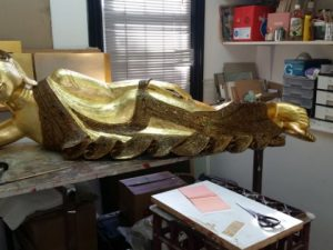 Restoration of a 23 Carat Gold Leafed Buddha