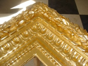 Gilded corner of restored frame